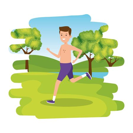 happy athletic boy shirtless running in the camp vector illustration design