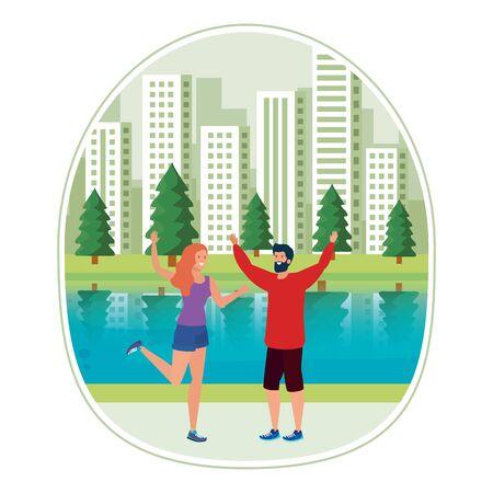 young lovers couple celebrating in the park vector illustration design Ilustração