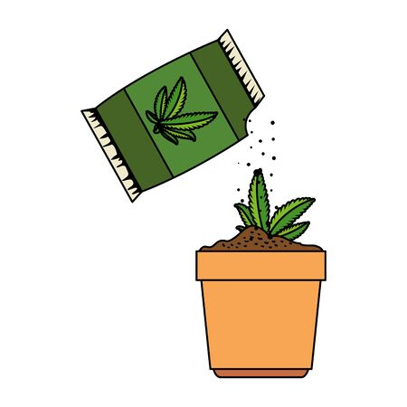 cannabis plant in pot with seeds bag vector illustration design