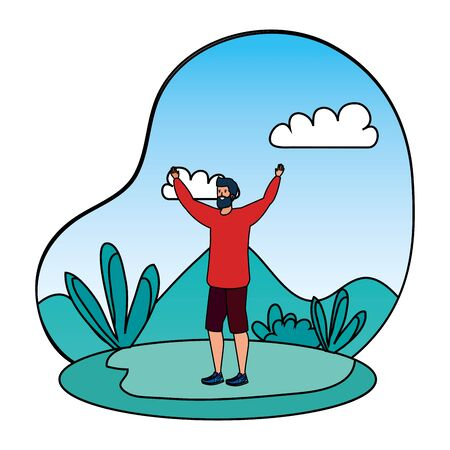 happy young man with beard celebrating in the camp vector illustration design Ilustração