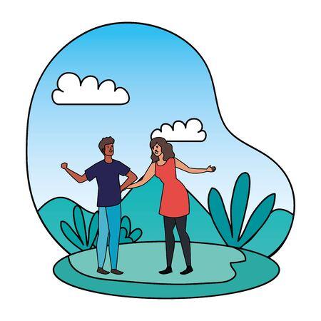 young interracial lovers couple in the landscape vector illustration design Ilustração