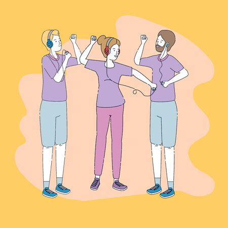group of people listen music with player vector illustration design