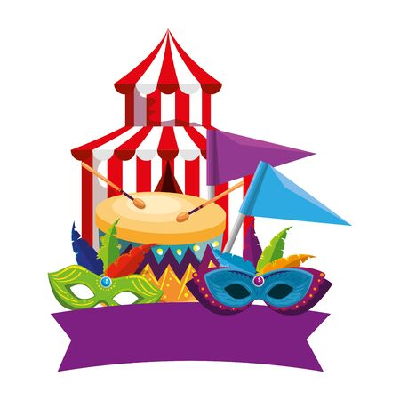 circus tent carnival with drum and masks vector illustration design
