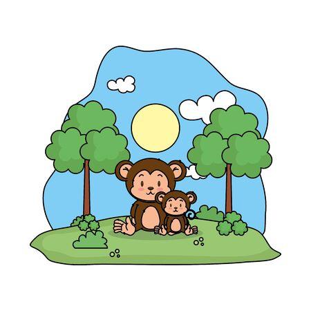 cute monkey family in the landscape vector illustration design