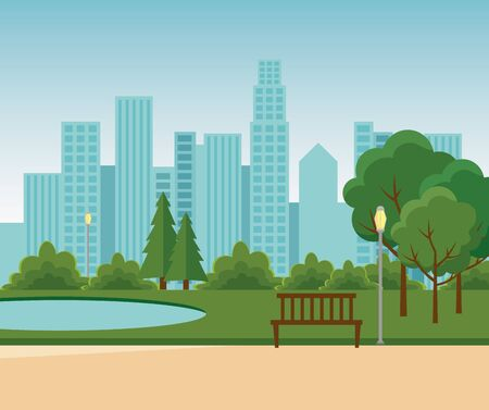 park with lake and trees with building cityscape to urban relaxation vector illustration
