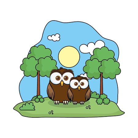 cute owl bird family in the landscape vector illustration design