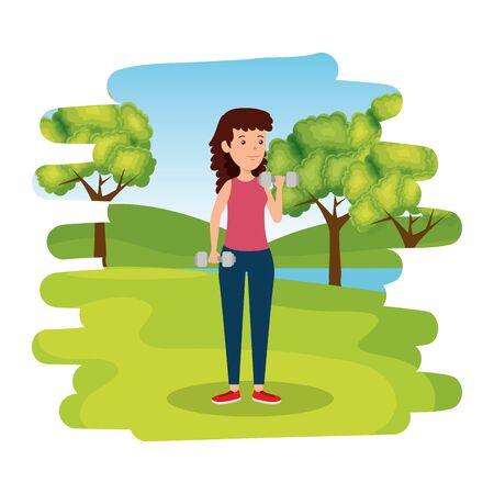 happy athletic girl weight lifting on the camp vector illustration design Ilustração