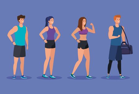 set of fitness women and men to exercise activity over purple background, vector illustration