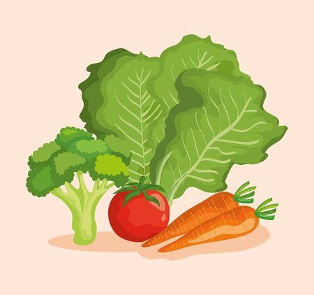 healthy vegetables fresh organic nutrition over pink background, vector illustration