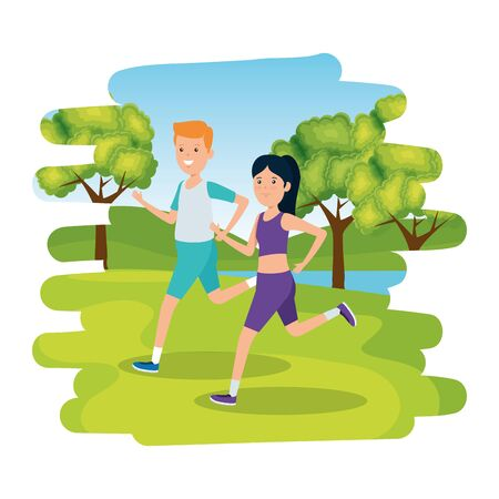 happy athletic couple running in the camp vector illustration design