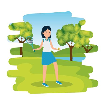happy athletic girl with racket tennis in the camp vector illustration design
