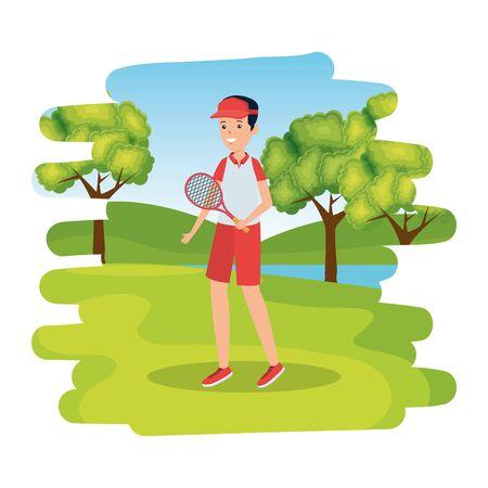 boy with racket practicing tennis in the camp vector illustration design Ilustração