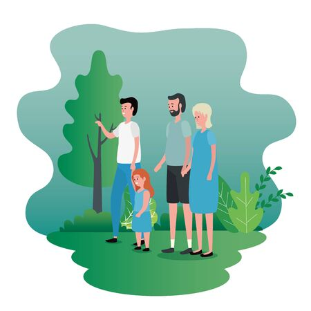 old woman and man with their son and granddaughter to family together, vector illustration