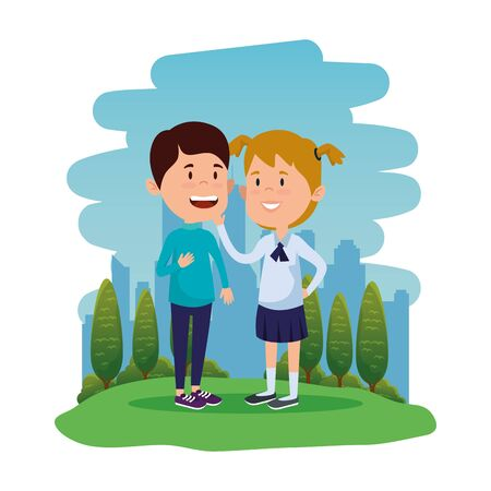 happy little students couple in the field vector illustration design