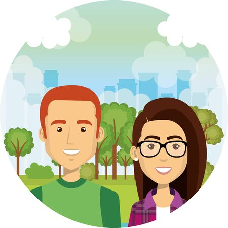 young lovers couple in the camp characters vector illustration design