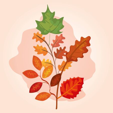 branches with leafs of autumn vector illustration design
