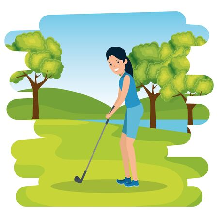 happy athletic girl practicing golf in the camp vector illustration design