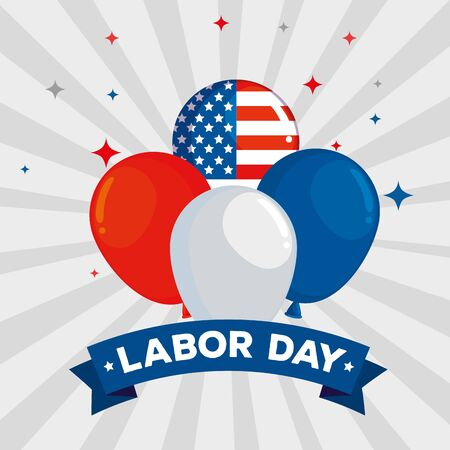 usa flag balloons with stars and ribbon decoration to labor day vector illustration Vecteurs