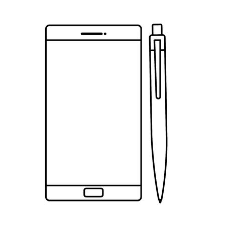 smartphone with pen isolated icon vector illustration design