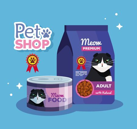 pet shop veterinary with food cat vector illustration design