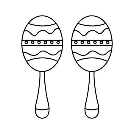 maracas musical instrument isolated icon vector illustration design