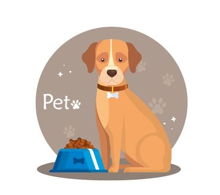 pet shop with dog and dish food vector illustration design Ilustrace