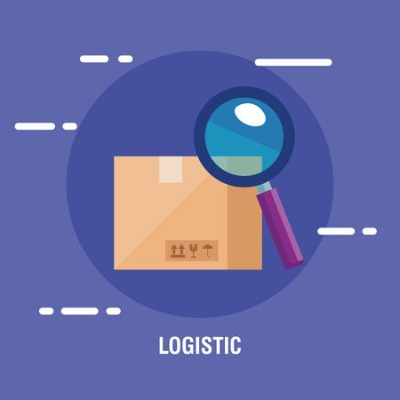 delivery logistic service with box and magnifying glass vector illustration design Ilustração