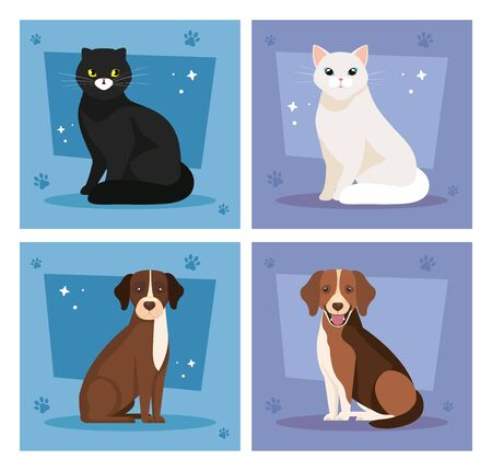 set poster of cute cats and dogs vector illustration design Illustration