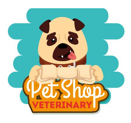 pet shop veterinary with little dog vector illustration design Ilustrace