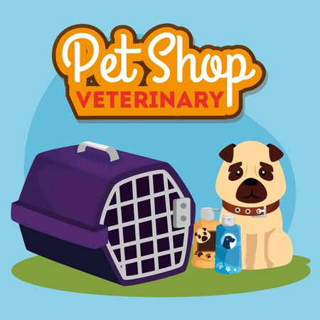 pet shop veterinary with cute dog icons vector illustration design Ilustrace
