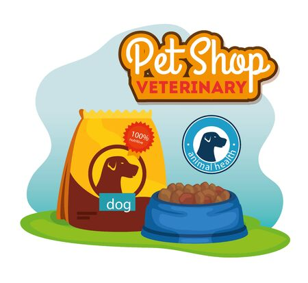 pet shop veterinary with bag and dish food for dog vector illustration design Ilustrace