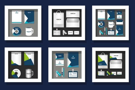 Corporate identity objects set design of Brands business company style ad publishing and office theme Vector illustration