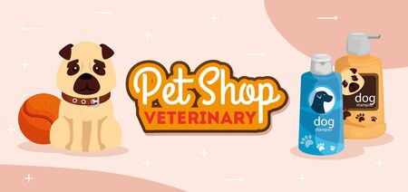 pet shop veterinary with cute dog and care bottles vector illustration design