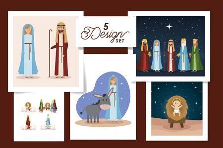 five designs of scenes manger characters vector illustration design