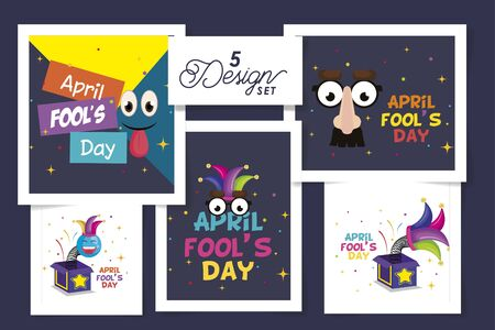 set five designs of april fools day with icons decoration vector illustration design