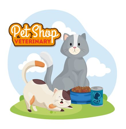 pet shop veterinary with cute cats vector illustration design Ilustrace