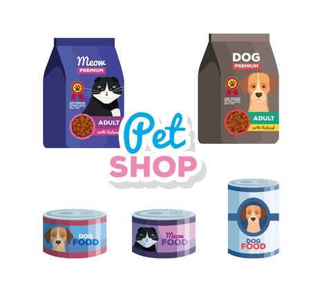 pet shop veterinary with food animals vector illustration design