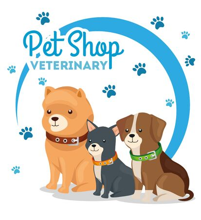 pet shop veterinary with little dogs vector illustration design