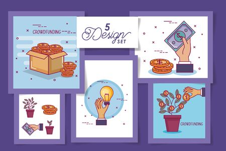 five designs of crowdfunding and icons vector illustration design