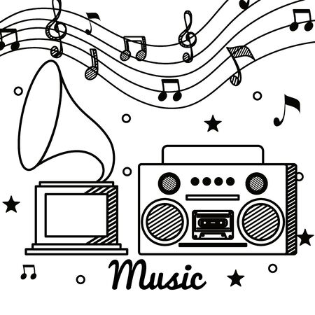 turntable and radio with treble clef and quaver with beam notes to music melody vector illustration