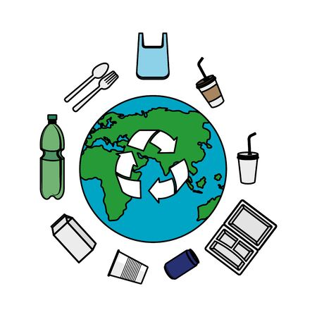 earth with recycle arrows and recyclable products vector illustration design