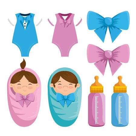 set of little girl and boy pijamas with ribbon bow and feeding bottle over white background vector illustration