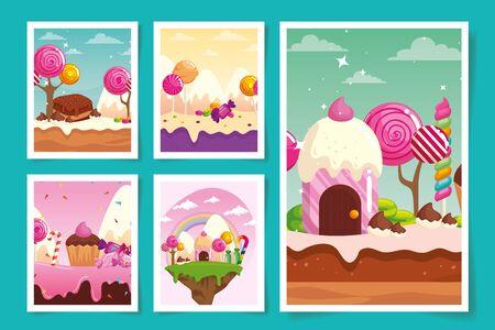 set of scenes candy land with caramels vector illustration design Vetores