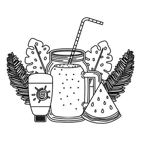 juice watermelon fruit jar with blocker solar vector illustration design