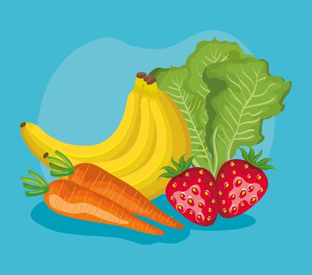 delicious fruits nutrition and healthy vegetables over blue background, vector illustration