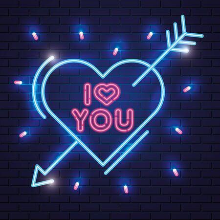 i love you lettering of neon light vector illustration design Ilustração