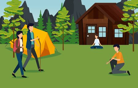 women and men with cabin and camp around the trees to tourism adventure vector illustration
