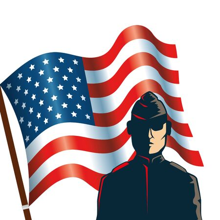 man soldier with united states flag vector illustration design