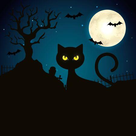 cat in the dark night halloween scene vector illustration design 일러스트