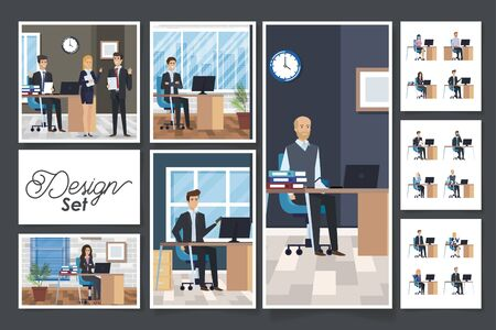 bundle of group business people in the workplace vector illustration design Vecteurs
